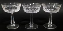 SET (15) GALWAY CRYSTAL CHAMPAGNES, SIGNED. HEIGHT 5 1/4