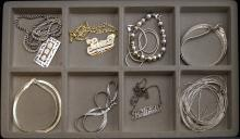 LOT (10) STERLING AND SILVER NECKLACES AND BRACELET. APPROXIMATE TWT 3.44 OZT