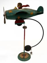 TIN LITHOGRAPH SINGLE PROP ROCKING AIRPLANE TOY. HEIGHT 16