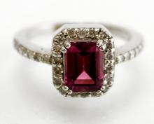 14K WHITE GOLD AND 1.59 CT PINK TOURMALINE AND DIAMOND RING. RING SIZE 6 3/4; GROSS WEIGHT 5.8 GRAMS; DIAMOND APPROXIMATE TWT 0.45 CT