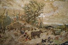 VINTAGE HOOKED RUG, WINTER SCENE, SIGNED AND LABELED