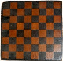 PAINTED CHECKERS GAME BOARD, 19TH CENTURY. 14 X 14