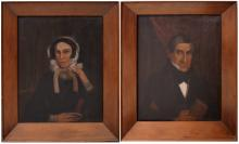 AMERICAN SCHOOL (19TH CENTURY), PAIR OIL ON CANVAS, HUDSON VALLEY PORTRAITS, IN THE MANNER OF ZEDEKIAH BELNAP. 30 X 24