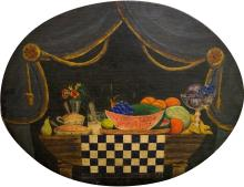 AMERICAN SCHOOL (19/20TH CENTURY), OIL ON CANVAS LAID ON PANEL, ARRANGEMENT ON A TABLE, UNSIGNED. 22 X 28