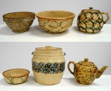 LOT (6) VINTAGE SPONGEWARE, YELLOWARE INCLUDING (3) BOWLS, TEAPOT, CANISTER AND COVERED CROCK, 19TH CENTURY