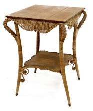 VICTORIAN WICKER AND OAK SIDE TABLE. HEIGHT 29 1/2
