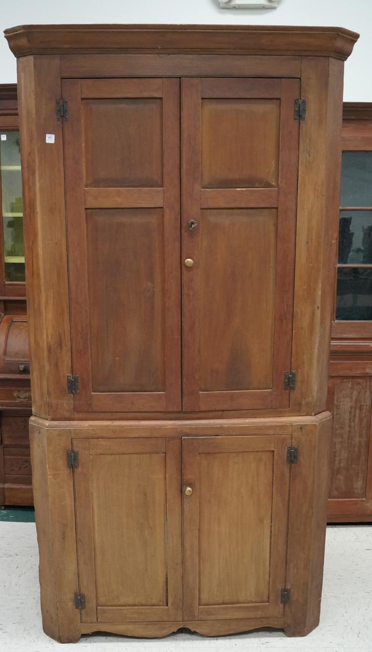 Country Cherry Corner Cabinet With Painted Interior 19th Ce