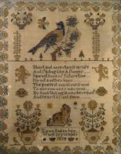 NEEDLEPOINT SAMPLER, SIGNED EMMA BAKER, SEPTEMBER 1854. FRAMED AND GLAZED-20 3/4 X 16