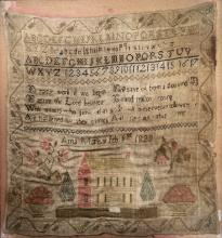 NEEDLEPOINT SAMPLER, SIGNED ANNA MARLOW, FEB 1ST, 1828. FRAMED AND GLAZED-19 1/2 X 17 1/2