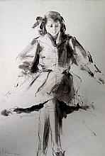 ANTONIO MANCINI (ITALIAN 1852-1930), INK ON PAPER, YOUNG WOMAN, SIGNED. SIGHT 10 1/2 X 7 1/4