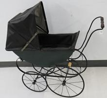 VINTAGE IRON CHILD'S/DOLL'S CARRIAGE WITH HOOD