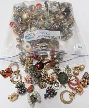 LARGE LOT PAIRS OF COSTUME JEWELRY CLIP EARRINGS