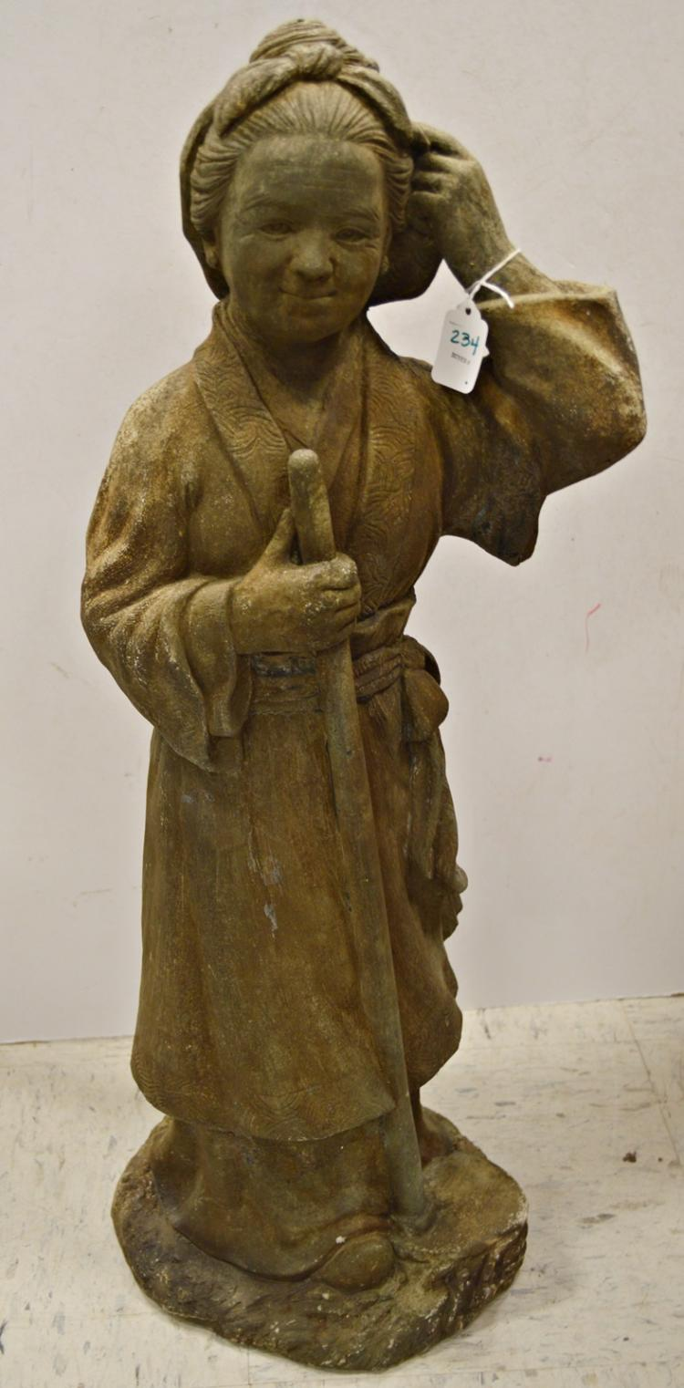 Japanese carved stone garden figure of a farmer height quot