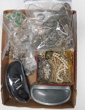 BOX LOT ASSORTED COSTUME JEWELRY FINDINGS AND (2) PAIR CASED SUNGLASSES