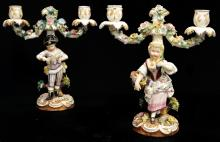 PAIR WORCESTER PORCELAIN FIGURED 2-LIGHT CANDELABRA, 18TH CENTURY (IMPERFECTIONS AND RESTORATIONS)