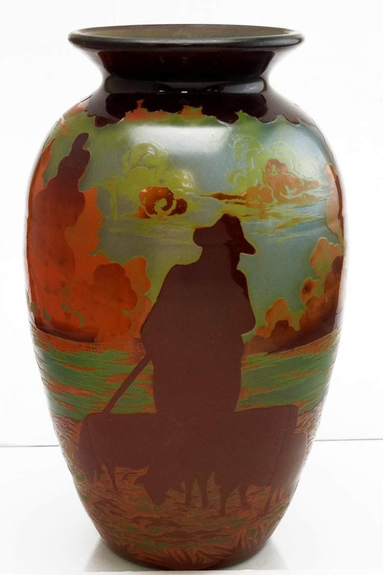 Carved cameo art glass vase quot shepherd bearing signa