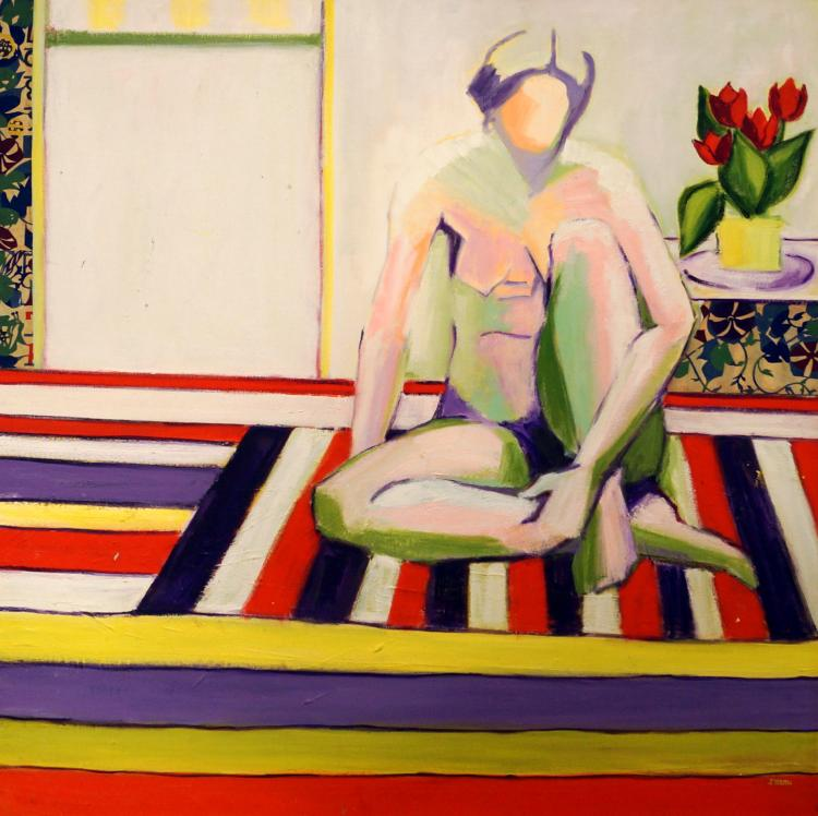 JUNE ROTH (AMERICAN/NY 20TH/21ST CENTURY), OIL ON CANVAS, SEATED NUDE FEMALE FIGURE, SIGNED. 36 X 40