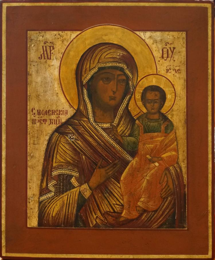 RUSSIAN ICON ON WOOD PANEL, SMOLENSKAYA, 19TH CENTURY. 12 X 10