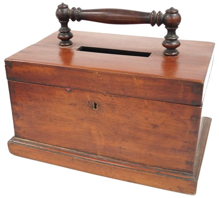MAHOGANY BALLOT BOX, 19TH CENTURY. HEIGHT 10 1/2