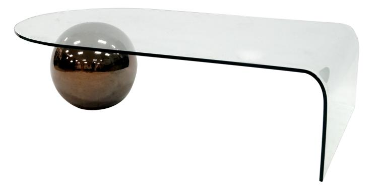 MID-CENTURY MODERNIST CURVED GLASS COFFEE TABLE WITH CHROME CERAMIC SPHERE SUPPORT. HEIGHT 13 3/4