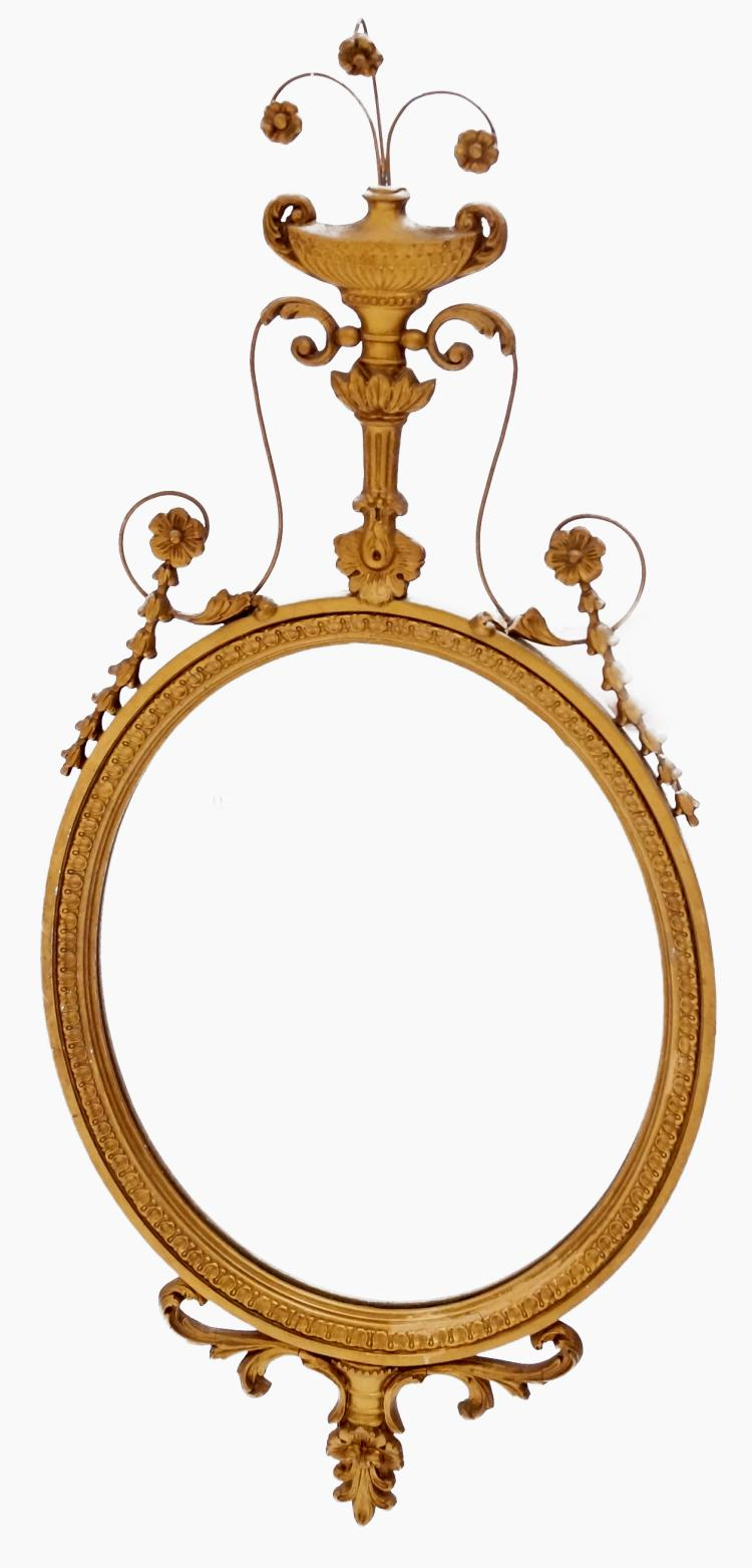 SHERATON STYLE GILT, CARVED AND MOLDED MIRROR. HEIGHT 42
