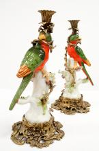 PAIR FRENCH STYLE PORCELAIN AND BRONZE MOUNTED CANDLESTICKS. HEIGHT 14 1/2