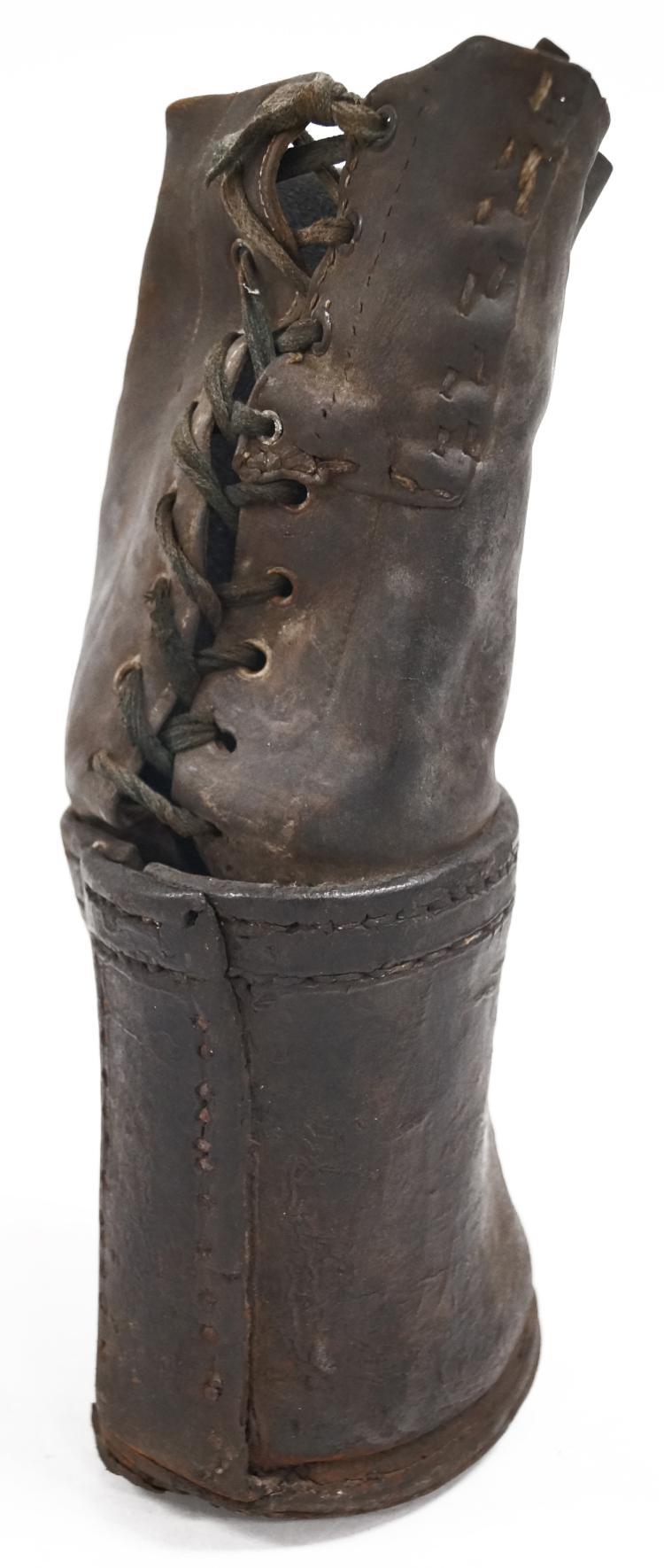 CIVIL WAR ERA LEATHER PROSTHETIC STUMP BOOT/SHOE, 19TH CENTURY. HEIGHT 12