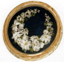 ANTIQUE VICTORIAN FEATHER-WORK WREATH WITH OVAL GILT FRAME, 19TH CENTURY. FRAMED AND GLAZED-21 1/2 X 20