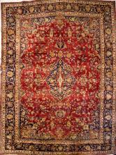 SEMI-ANTIQUE CENTRAL PERSIAN CARPET. 9'9