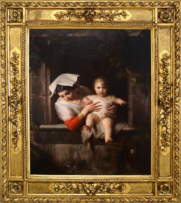 ITALIAN SCHOOL (19TH CENTURY), OIL ON CANVAS, MOTHER AND CHILD AT A WINDOW, SIGNED JOSEPH MARZOLINI, 1872. 23 1/2 X 19