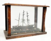 FOLK ART SHIP MODEL, CASED, 19/20TH CENTURY. HEIGHT 10