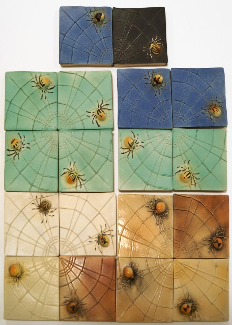 LOT (18) SERVING STUDIO'S HIGH RELIEF CERAMIC TILES, SPIDERS. 4 X 4