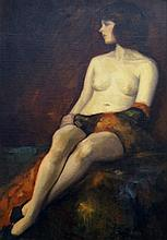 FRANK DUVENECK (AMERICAN 1848-1919), OIL ON ARTIST BOARD, SEATED NUDE, SIGNED 1879. 27 X 19