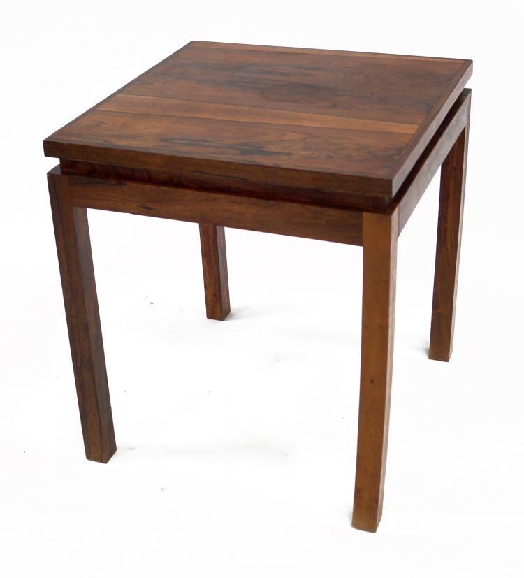 MID-CENTURY DANISH ROSEWOOD STAND, SIGNED. HEIGHT 20