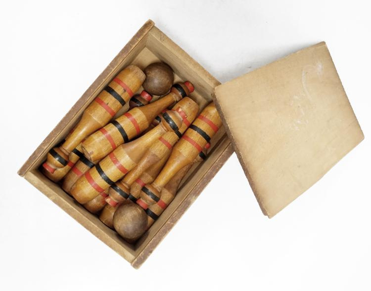 VINTAGE TABLE-TOP PARLOR GAME, TEN-PINS BOWLING SET WITH ORIGINAL BOX