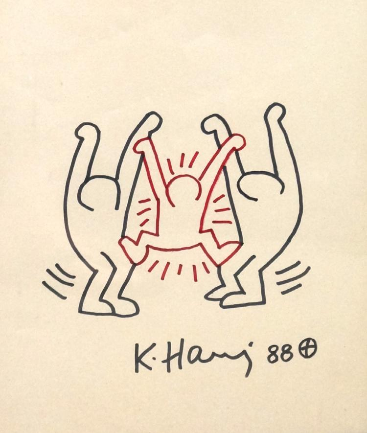 KEITH HARING (AMERICAN 1958-1990), MARKER ON BEIGE PAPER,