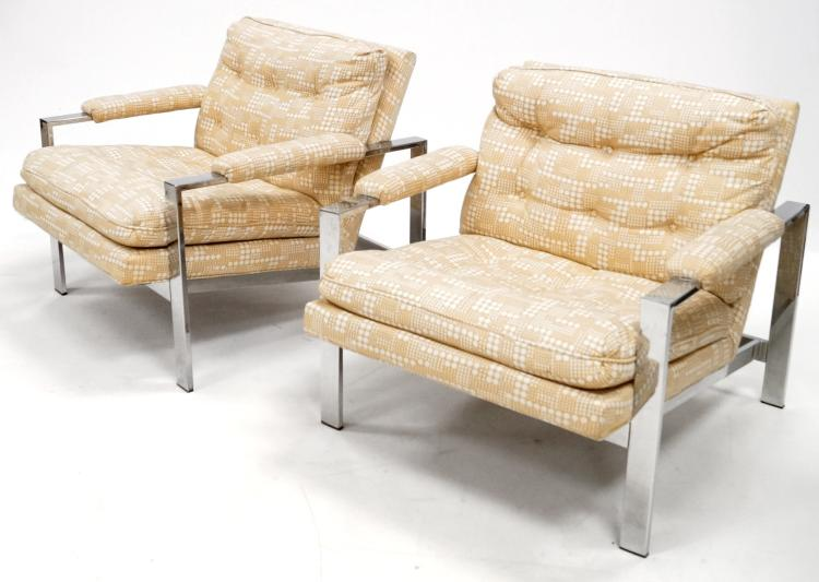 PAIR MID-CENTURY HALEAU CHROME STEEL ARMCHAIRS