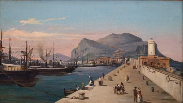 CONTINENTAL SCHOOL (19TH CENTURY), OIL ON CANVAS, MEDITERRANEAN PORT WITH STEAM SHIPS AND FIGURES, UNSIGNED. 9 1/2 X 16