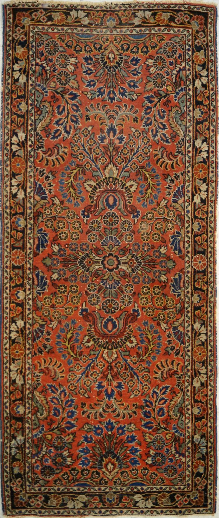 ANTIQUE HAMADAN CORRIDOR RUG. 2'9