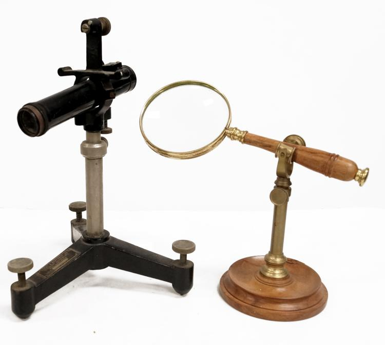 LOT (2) MAGNIFYING INSTRUMENTS INCLUDING STAND MOUNTED MAGNIFYING GLASS AND LEEDS & NORTHUP MONO SCOPE. HEIGHT 6 1/2