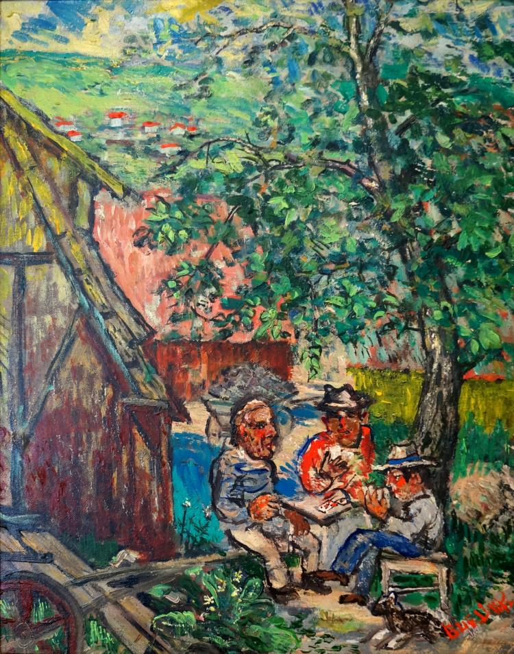 DAVID BURLIUK (RUSSIAN/AMERICAN 1882-1967), OIL ON CANVAS BOARD, PLAYING CARDS, SIGNED. 20 X 16