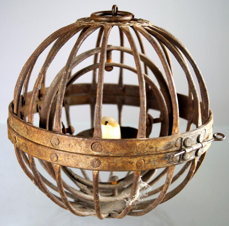 WROUGHT IRON GIMBAL MOUNTED SHIP'S CANDLE LANTERN, 19TH CENTURY. DIAMETER 7