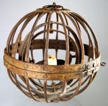 WROUGHT IRON GIMBAL MOUNTED SHIP'S CANDLE LANTERN, 19TH CENTURY. DIAMETER 7