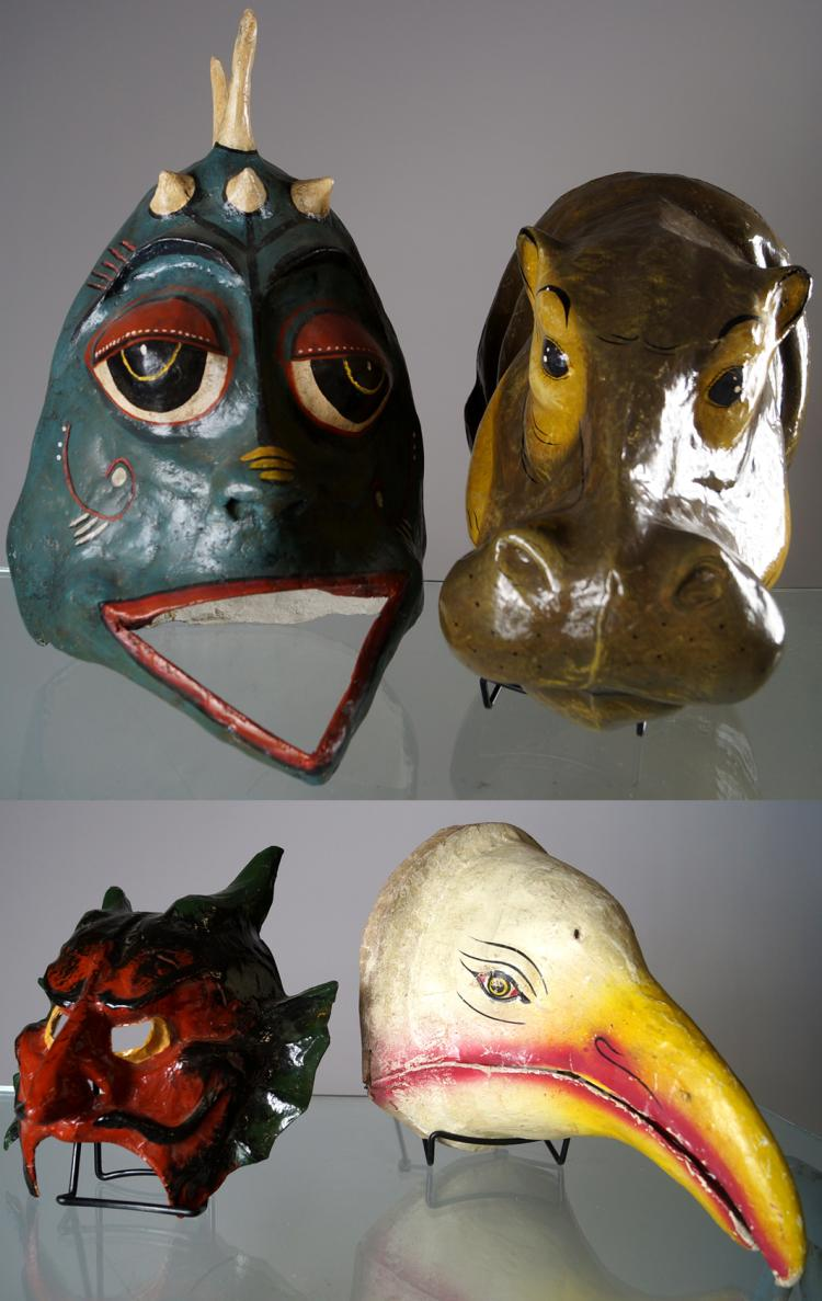 LOT (4) PAPIER MACHE MASKS INCLUDING SWAMP THING, DEVIL, BIRD AND HIPPO. HEIGHT 7-19
