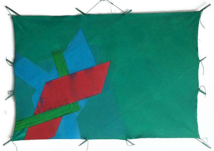 RICHARD SMITH (ENGLAND/AMERICAN 1931-2016), ACRYLIC ON METAL RODS AND CANVAS, KITE, UNSIGNED. 40 X 58