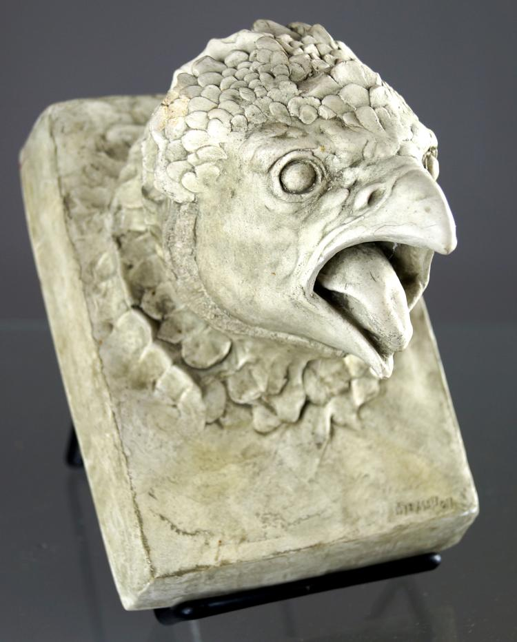 WILLIAM MCMAHON (ACTIVE NYC 1960'S), CAST HYDROSTONE BAS RELIEF PLAQUE OF GRIFFON. 6 1/4 X 4 1/2