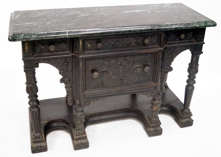 RENAISSANCE REVIVAL CARVED AND EBONIZED SERVER WITH GREEN MARBLE TOP. HEIGHT 35