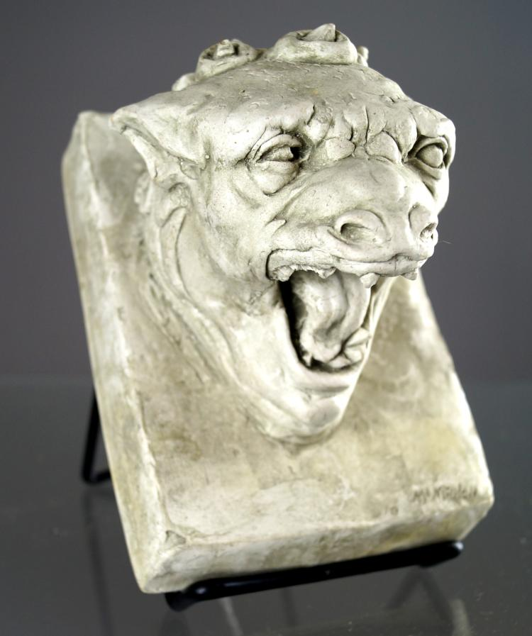 WILLIAM MCMAHON (ACTIVE NYC 1960'S), CAST HYDROSTONE BAS RELIEF PLAQUE OF MYTHICAL BEAST. 6 X 4 3/8