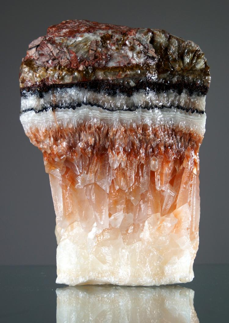 PEACH QUARTZ MINERAL SPECIMEN. HEIGHT 9