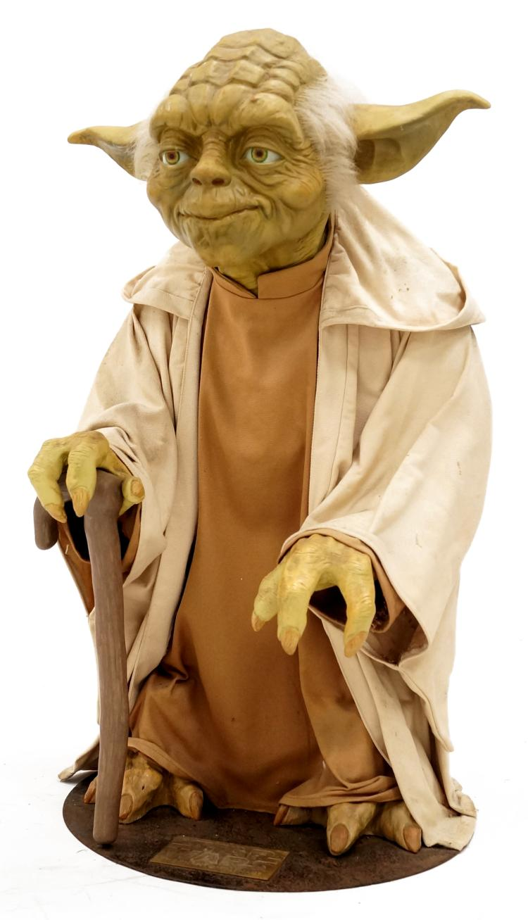 LIFE SIZE BLOCK BUSTER PROMOTIONAL FIGURE OF YODA, PLAQUE READS